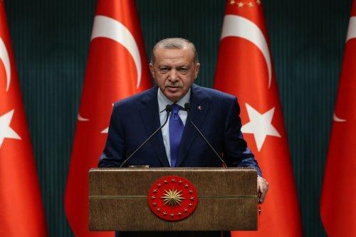 Turkish President Recep Tayyip Erdogan makes a speech after cabinet meeting at Presidential Complex in Ankara, Turkey on 20 October 2020. [Doğukan Keskinkılıç - Anadolu Agency]