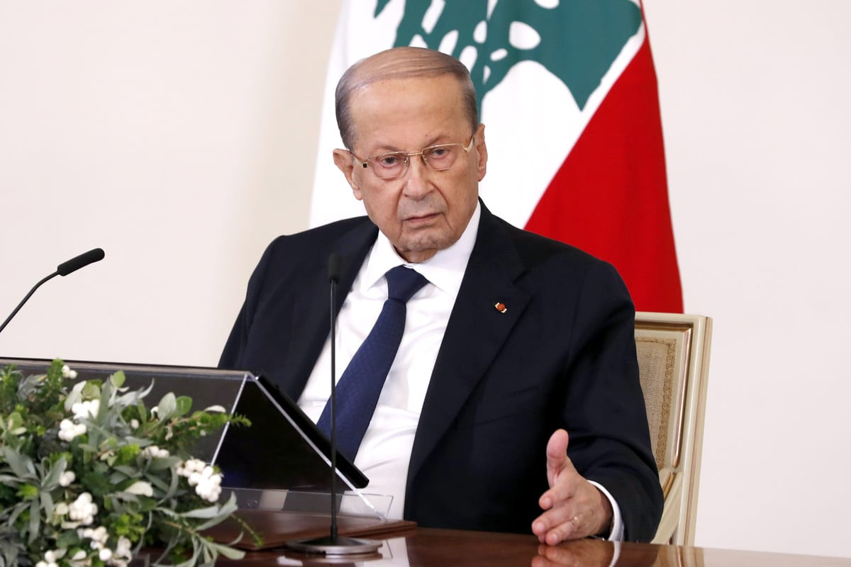 """BEIRUT, LEBANON - OCTOBER 21: (----EDITORIAL USE ONLY – MANDATORY CREDIT - """"LEBANESE PRESIDENCY / HANDOUT"""" - NO MARKETING NO ADVERTISING CAMPAIGNS - DISTRIBUTED AS A SERVICE TO CLIENTS----) Lebanese President, Michel Aoun addresses citizens via a TV channel ahead of consultation talks on the task of establishing new government in Beirut, Lebanon on October 21, 2020. ( Lebanese Presidency - Anadolu Agency )"""