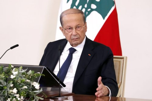 "BEIRUT, LEBANON - OCTOBER 21: (----EDITORIAL USE ONLY – MANDATORY CREDIT - ""LEBANESE PRESIDENCY / HANDOUT"" - NO MARKETING NO ADVERTISING CAMPAIGNS - DISTRIBUTED AS A SERVICE TO CLIENTS----) Lebanese President, Michel Aoun addresses citizens via a TV channel ahead of consultation talks on the task of establishing new government in Beirut, Lebanon on October 21, 2020. ( Lebanese Presidency - Anadolu Agency )"