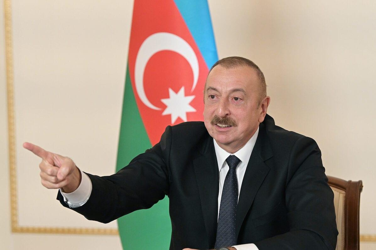 "BAKU, AZERBAIJAN - OCTOBER 26: (----EDITORIAL USE ONLY – MANDATORY CREDIT - ""AZERBAIJANI PRESIDENCY / HANDOUT"" - NO MARKETING NO ADVERTISING CAMPAIGNS - DISTRIBUTED AS A SERVICE TO CLIENTS----) Azerbaijani President Ilham Aliyev addresses to the nation in Baku, Azerbaijan on October 26, 2020. ( Azerbaijani Presidency - Anadolu Agency )"