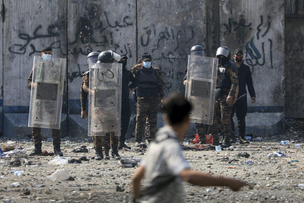 Iraqi security forces in Baghdad, Iraq on 26 October 2020 [Murtadha Al-Sudani/Anadolu Agency]