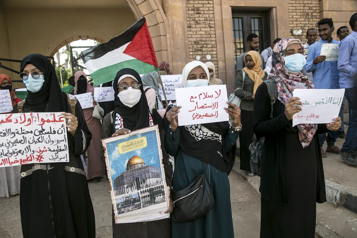 A protest against government's decision to resume diplomatic and commercial relations with Israel, in Khartoum, Sudan on 26 October 2020. [Mahmoud Hjaj - Anadolu Agency]