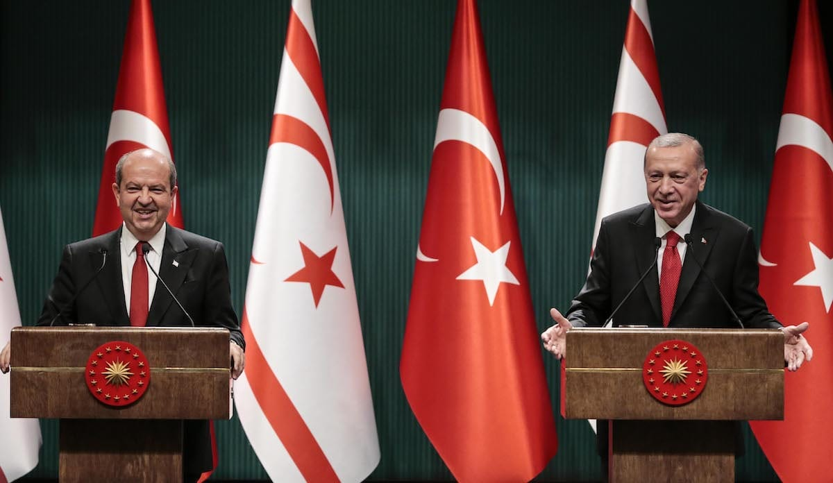 President of Turkey Recep Tayyip Erdogan (R) and Turkish Republic of Northern Cyprus President Ersin Tatar (L) in Ankara, Turkey on 26 October 2020 [Metin Aktaş/Anadolu Agency]