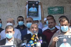 Gaza's Ministry of Prisoners held a protest outside the headquarters of the International Committee of the Red Cross in Gaza City in support of hunger striking prisoner Maher Al-Akhras who is now on the 78th day of his strike on 12 October 2020 [Mohammed Asad/Middle East Monitor]