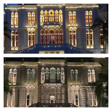 Before and after of the Sursock Museum in Beirut, Lebanon