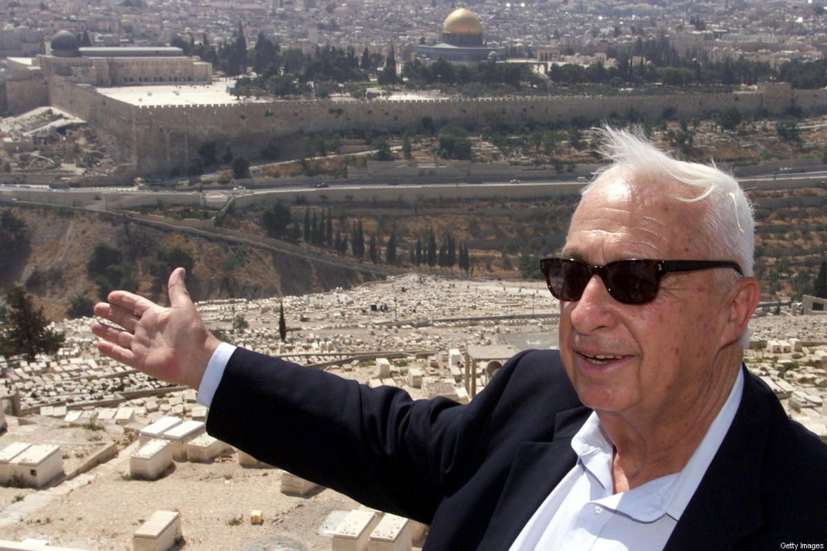 Late opposition leader Ariel Sharon of the right-wing Likud on 24 July 2000 on the Mount of Olives [MENAHEM KAHANA/AFP via Getty Images]
