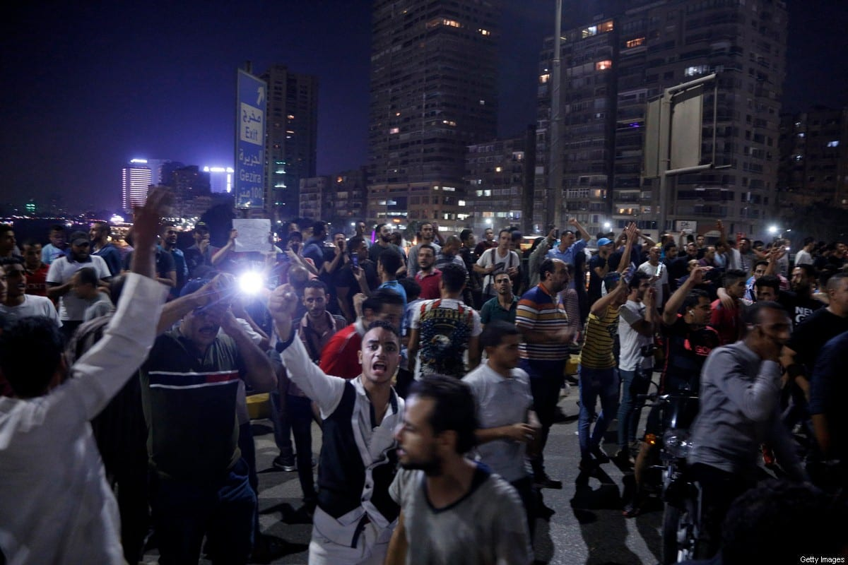 Egyptian protesters shout slogans as they take part in a protest calling for the removal of President Abdel Fattah al-Sisi in Cairo's downtown on 20 September 2019 [STR/AFP/Getty Images]