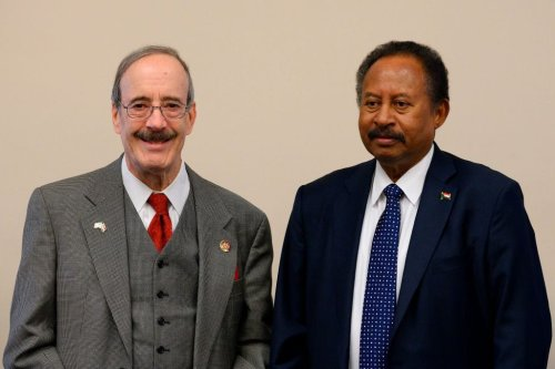 Sudanese Prime Minister Abdalla Hamdok (R) meets with House Foreign Affairs Committee Chairman Eliot Engel (L), D-NY, on Capitol Hill in Washington, DC, on December 4, 2019 [JIM WATSON/AFP via Getty Images]