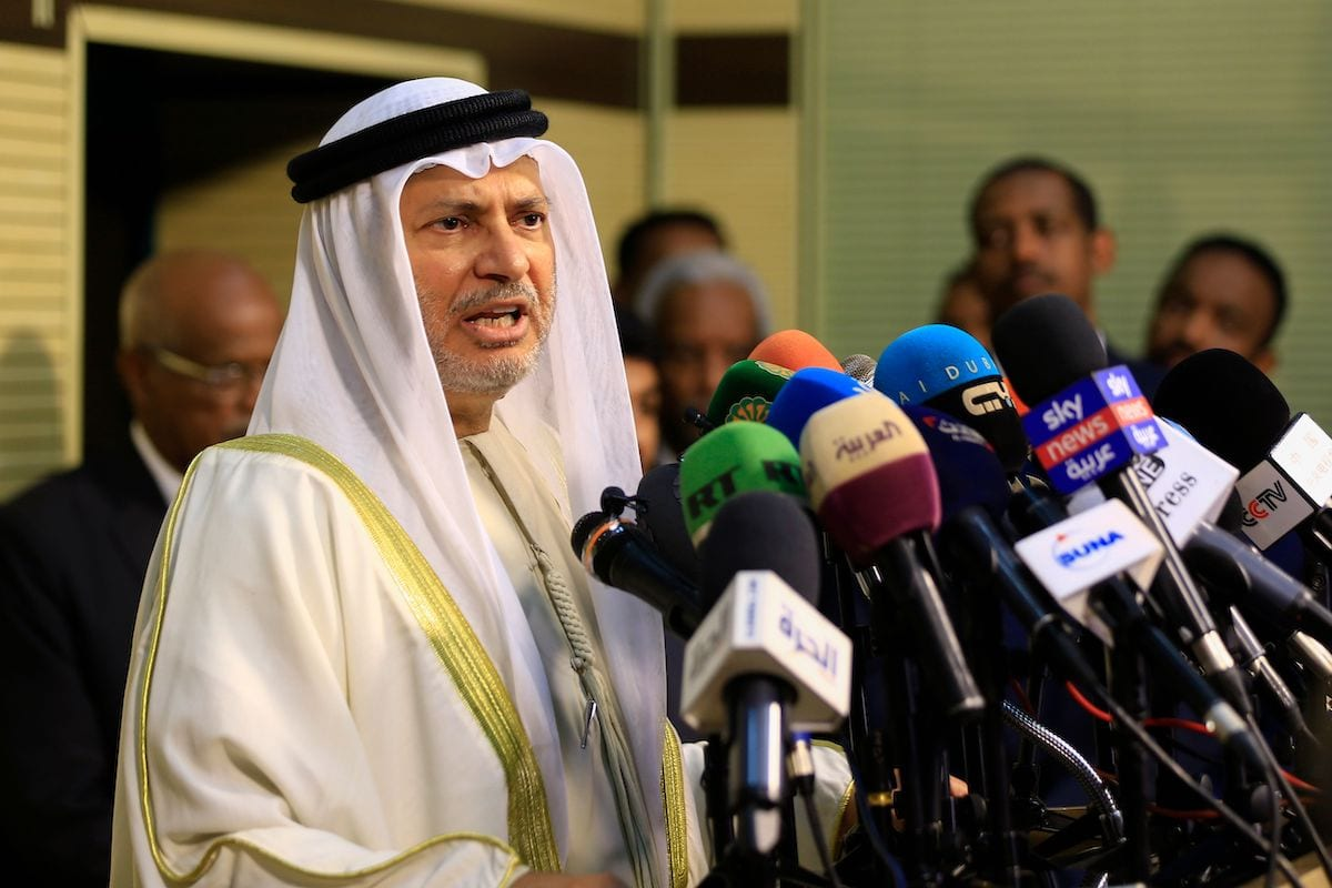 UAE's Minister of State for Foreign Affairs Anwar Gargash speaks during a press conference in Sudan's capital Khartoum on 14 January 2020. [ASHRAF SHAZLY/AFP via Getty Images]