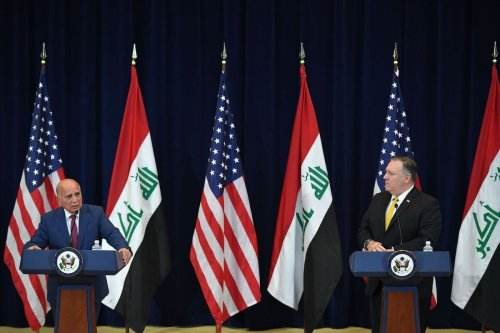 US Secretary of State Michael Pompeo(R) meets with Iraq's Foreign Minister Fuad Hussein during a press conference at the State Department in Washington, DC on 19 August 2020. [MANDEL NGAN/AFP via Getty Images]