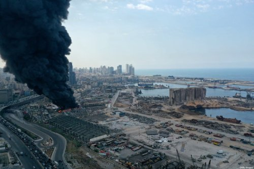 An aerial view of the black smoke following a fire that erupted in Beirut Ports Free Zone on September 10, 2020 in Beirut, Lebanon [Haytham Al Achkar/Getty Images]