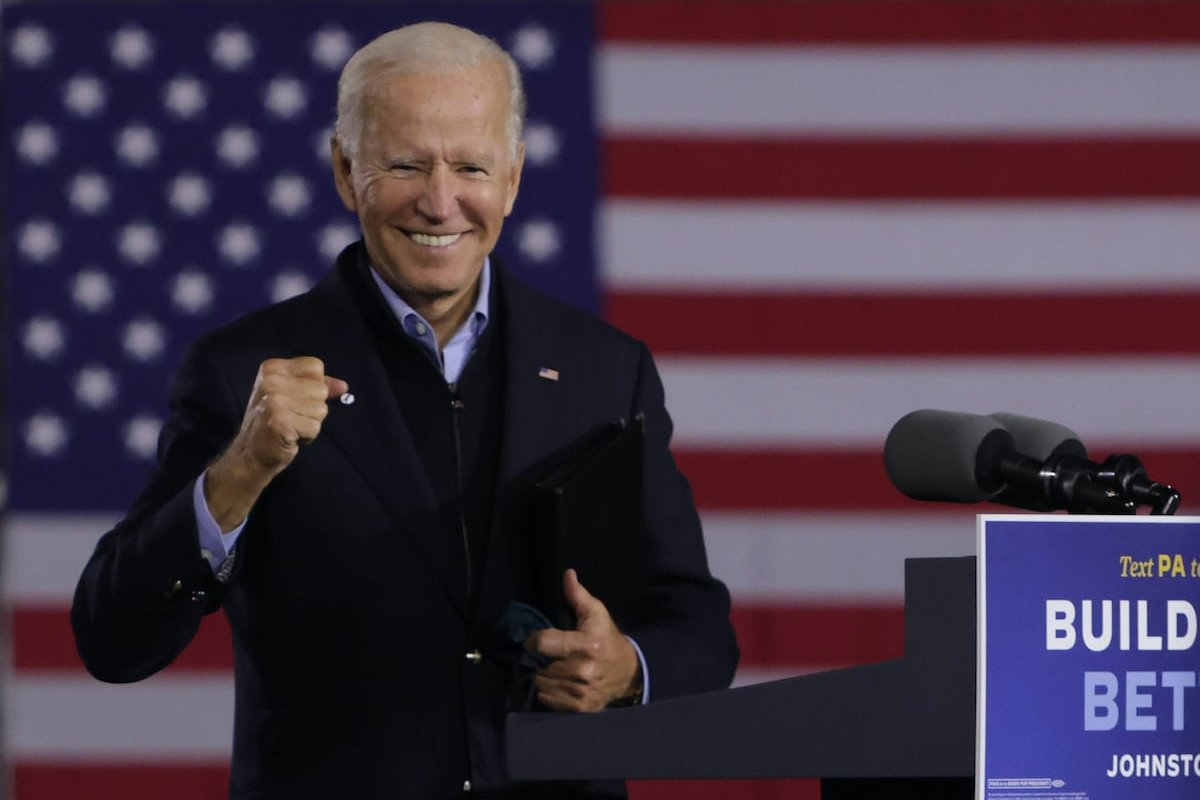 Democratic US presidential nominee Joe Biden gestures during a campaign stop outside Johnstown Train Station on 30 September 2020 in [Johnstown, Pennsylvania. Alex Wong/Getty Images]