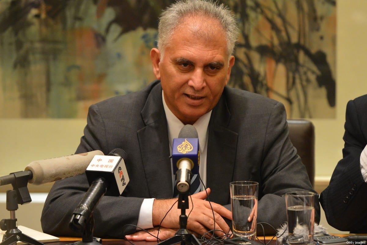 PLO Executive Committee member Bassam Al-Salhi in Beijing on 23 November 2012 [MARK RALSTON/AFP/Getty Images]
