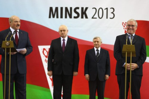 Alexandr Lukashenko (L) President of Belarus alongside Pat McQuaid (R) President of the Union Cycliste Internationale on February 20, 2013 in Minsk, Belarus. [Michael Steele/Getty Images]