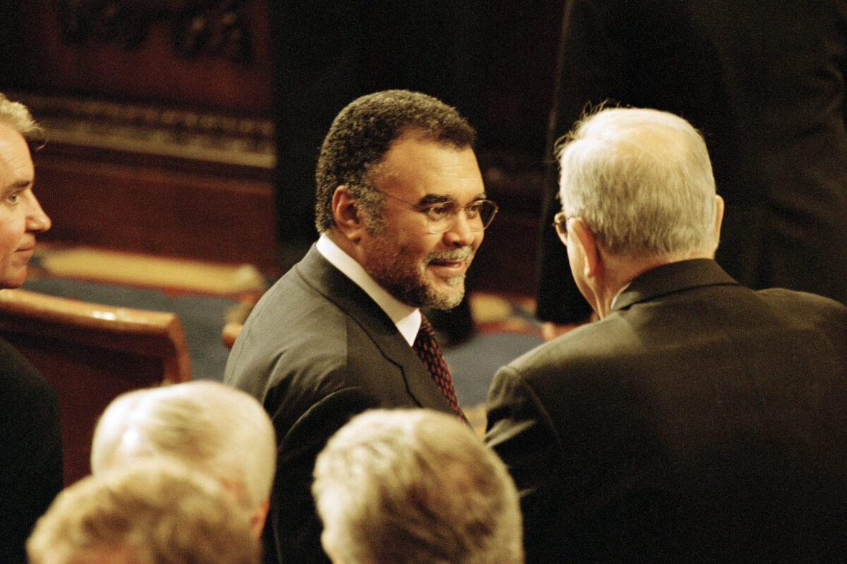 WASHINGTON - SEPTEMBER 20: (NO U.S. TABLOID SALES) Prince Bandar, Saudi Arabian Ambassador to the U.S. talks with a member of the audience September 20, 2001 after President George W. Bush addresses Congress September 20, 2001 in Washington, DC. (Photo by David Hume Kennerly/Getty Images)