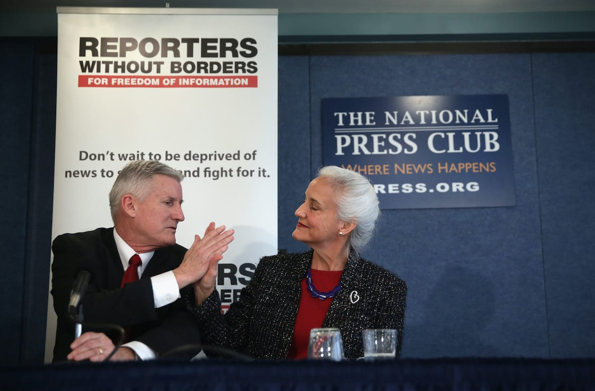 Parents of Journalist Austin Tice, missing in Syria, hold news conference in D.C. on February 5, 2015 [Alex Wong/Getty Images]