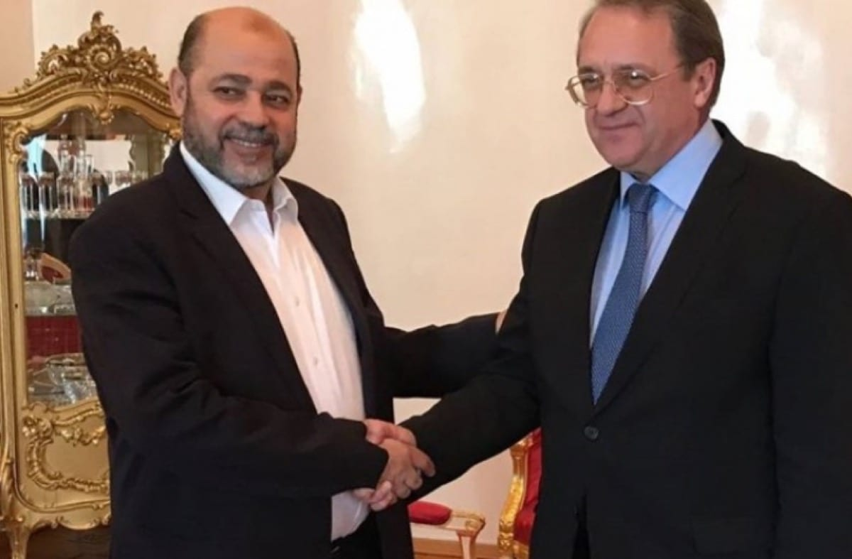 Senior leader of Hamas Mousa Abu Marzouk and Russian Deputy Foreign Minister and Presidential Special Envoy for the Middle East and Africa Mikhail Bogdanov [Shehab Agency]