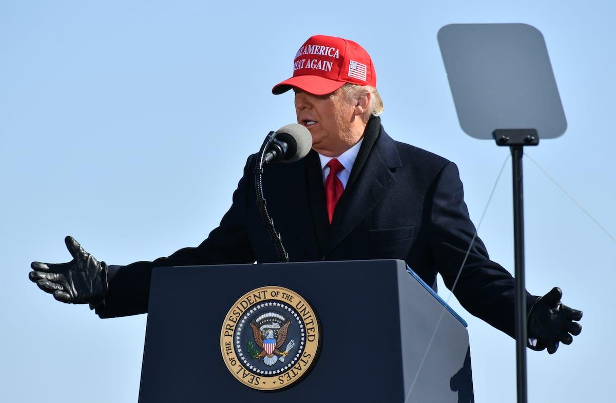 US President Donald Trump in Fayetteville, US on 2 November 2020 [Peter Zay/Anadolu Agency]