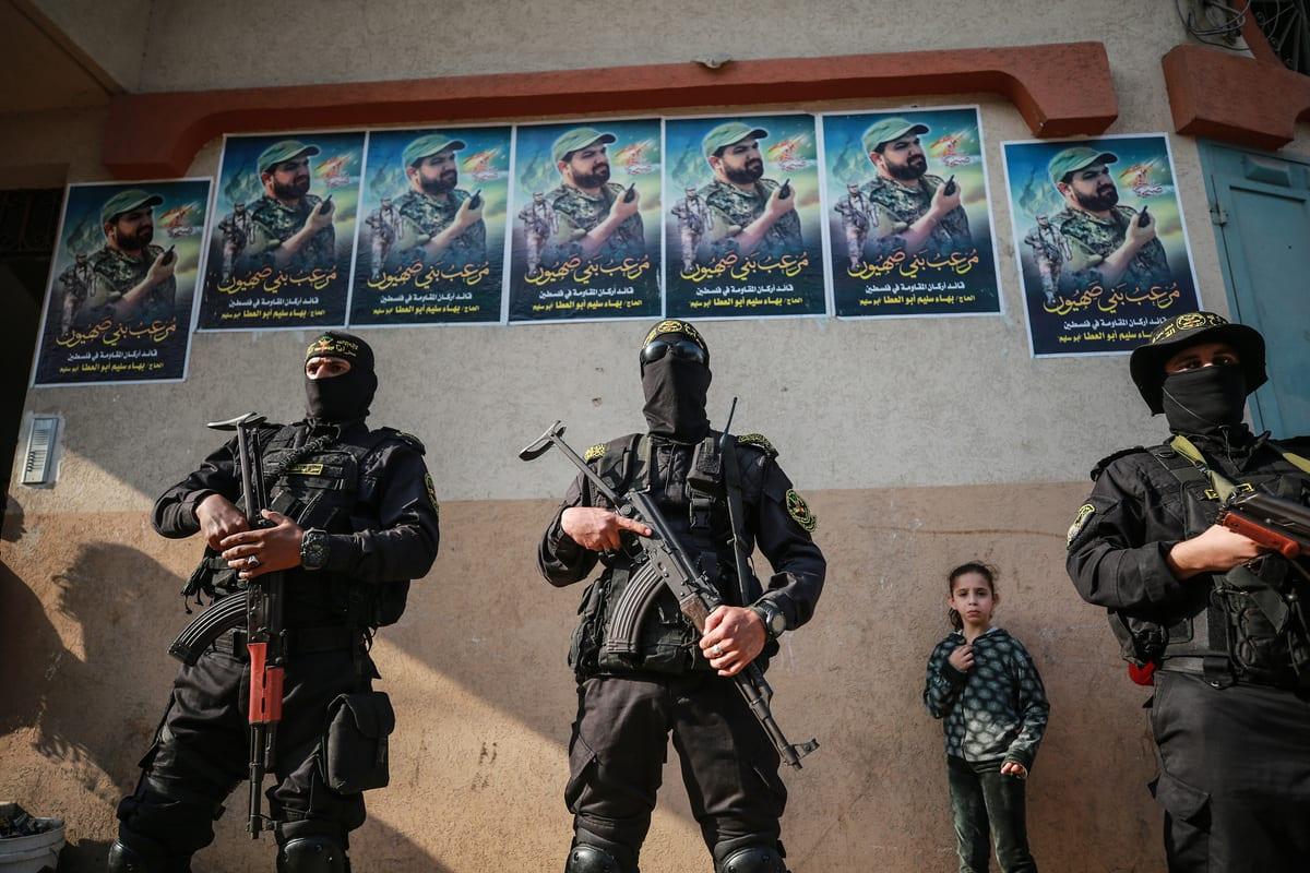 Members of Al-Quds Brigades, the armed wing of Islamic Jihad, attend a commemoration ceremony to mark the death anniversary of Bahaa Abu Al-Atta, a commander in the Al-Quds Brigades, in Gaza City, Gaza on November 12, 2020 [Mustafa Hassona / Anadolu Agency]