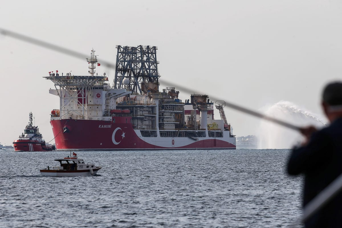 Turkey's third drillship Kanuni passes through Istanbul's Bosphorus Strait as it sets sail for Black Sea, in Istanbul, Turkey on November 13, 2020 [Onur Çoban - Anadolu Agency]