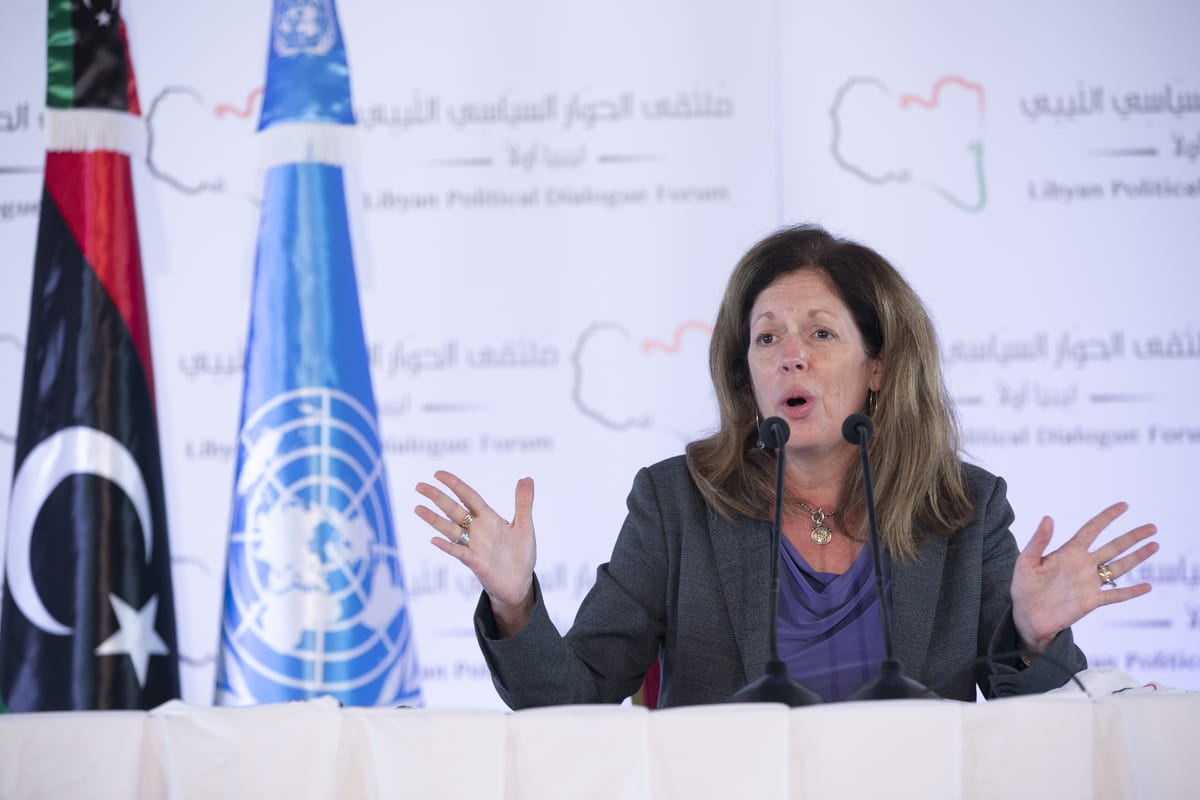 TUNIS, TUNISIA - NOVEMBER 16: Stephanie Williams, head of the UN Support Mission in Libya (UNSMIL) speaks during a press conference on the 7th and closing day of Libyan Political Dialogue Forum, on November 16, 2020 in Tunis, Tunisia. The UN-brokered Libyan Political Dialogue Forum has been postponed until next week due to a lack of consensus on who will lead the transition process. ( Yassine Gaidi - Anadolu Agency )