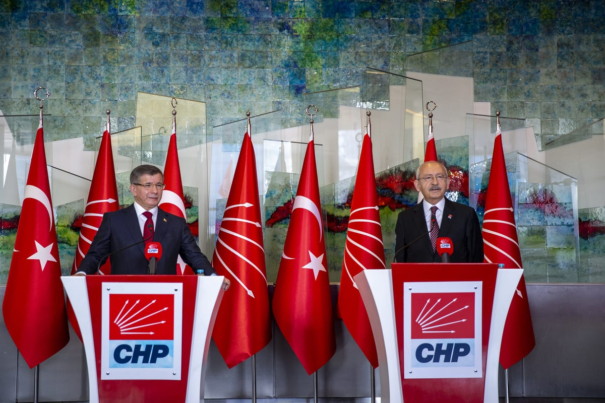 Leader of the Republican People's Party (CHP), Kemal Kilicdaroglu (R) and Leader of the Future Party, Ahmet Davutoglu (L) hold a joint press conference after their meeting at CHP Headquarters in Ankara, Turkey on November 18, 2020 [Ali Balıkçı/Anadolu Agency]