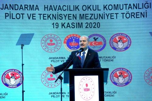 ANKARA, TURKEY - NOVEMBER 19: Turkish Interior Minister Suleyman Soylu makes a speech during the Gendarmerie Aviation Command's Pilot and Technician Basic Courses Graduation Ceremony in Ankara, Turkey on November 19, 2020. ( Mehmet Kaman - Anadolu Agency )