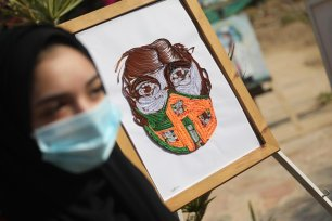 Women artists in Gaza launch 'Coronavirus and Art' exhibition on 12 November 2020 [Mohammad Asad/Middle East Monitor]
