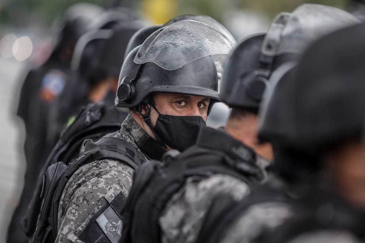 Brazilian police officers in Rio de Janeiro on 7 June 2020 [Andre Coelho/Getty Images]