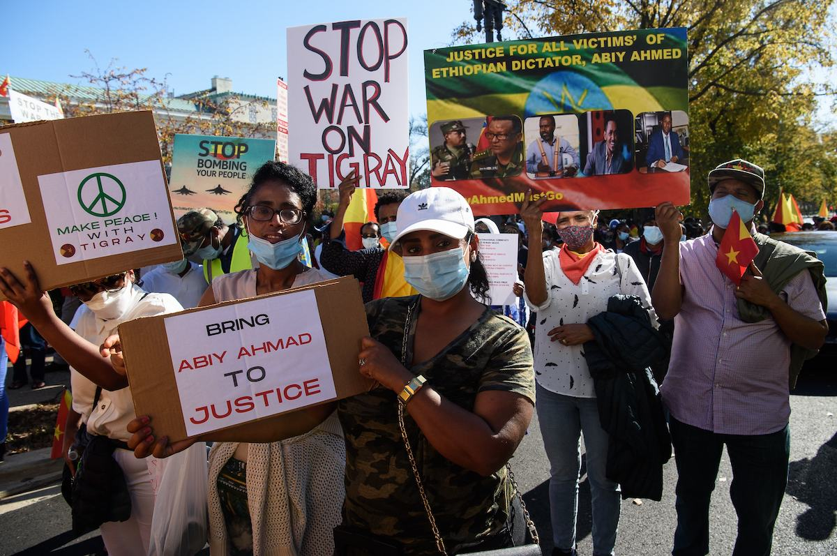 Ethiopians call for the end of the government's military actions in the northern Tigray region in front of the US State Department in Washington, DC, on 9 November 2020. [NICHOLAS KAMM/AFP via Getty Images]