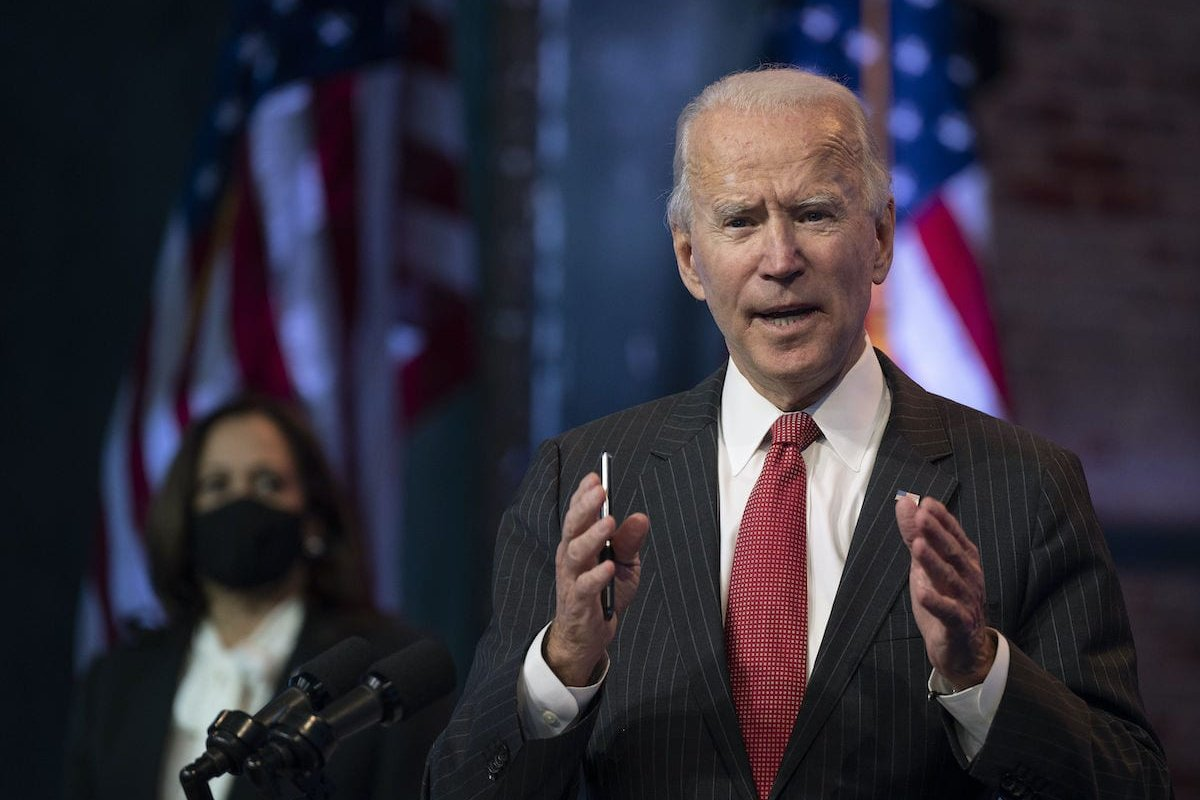 US President-elect Joe Biden speaks after a meeting with governors in Wilmington, Delaware, on 19 November 2020. [JIM WATSON/AFP via Getty Images]