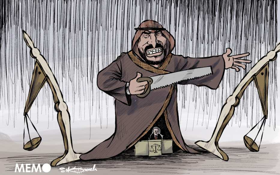 Saudi Arabia and its disregards for human rights - Cartoon [Sabaaneh/MiddleEastMonitor]