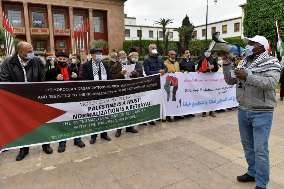 Moroccans protest the normalization deal with Israel to mark the International Day of Solidarity with the Palestinian People in Rabat, Morocco on 29 November 2020. [Jalal Morchidi - Anadolu Agency]