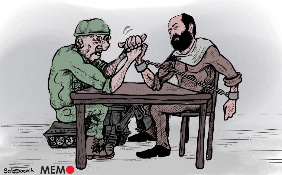 Release hunger-striking Palestinian prisoner Maher Al-Akhras! - Cartoon [Sabaaneh/MiddleEastMonitor]