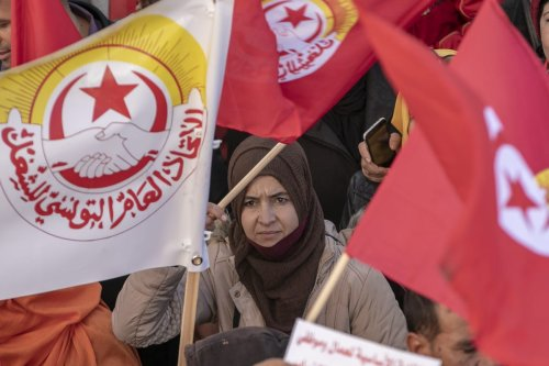 Protesters gather upon calling of Tunisian General Labour Union (UGTT) to stage a demonstration demanding that the ministries fulfill their reform promises for the region in Kairouan, Tunis on December 03, 2020. [ Yassine Gaidi - Anadolu Agency]