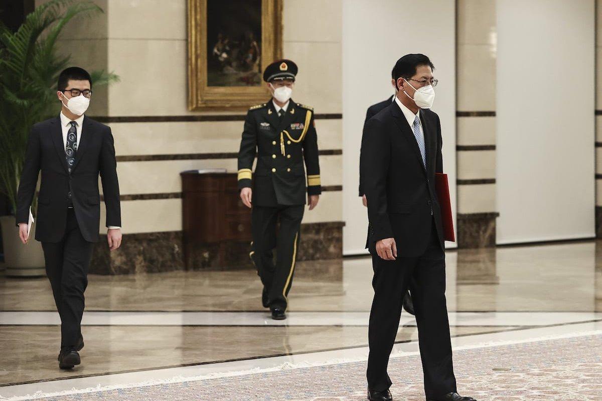 ANKARA, TURKEY - DECEMBER 15: Chinese Ambassador to Ankara, Liu Shaobin (R) arrives to present the letter of credence to President of Turkey, Recep Tayyip Erdogan (R) at the Presidential Complex in Ankara, Turkey on December 15, 2020. ( Emin Sansar - Anadolu Agency )