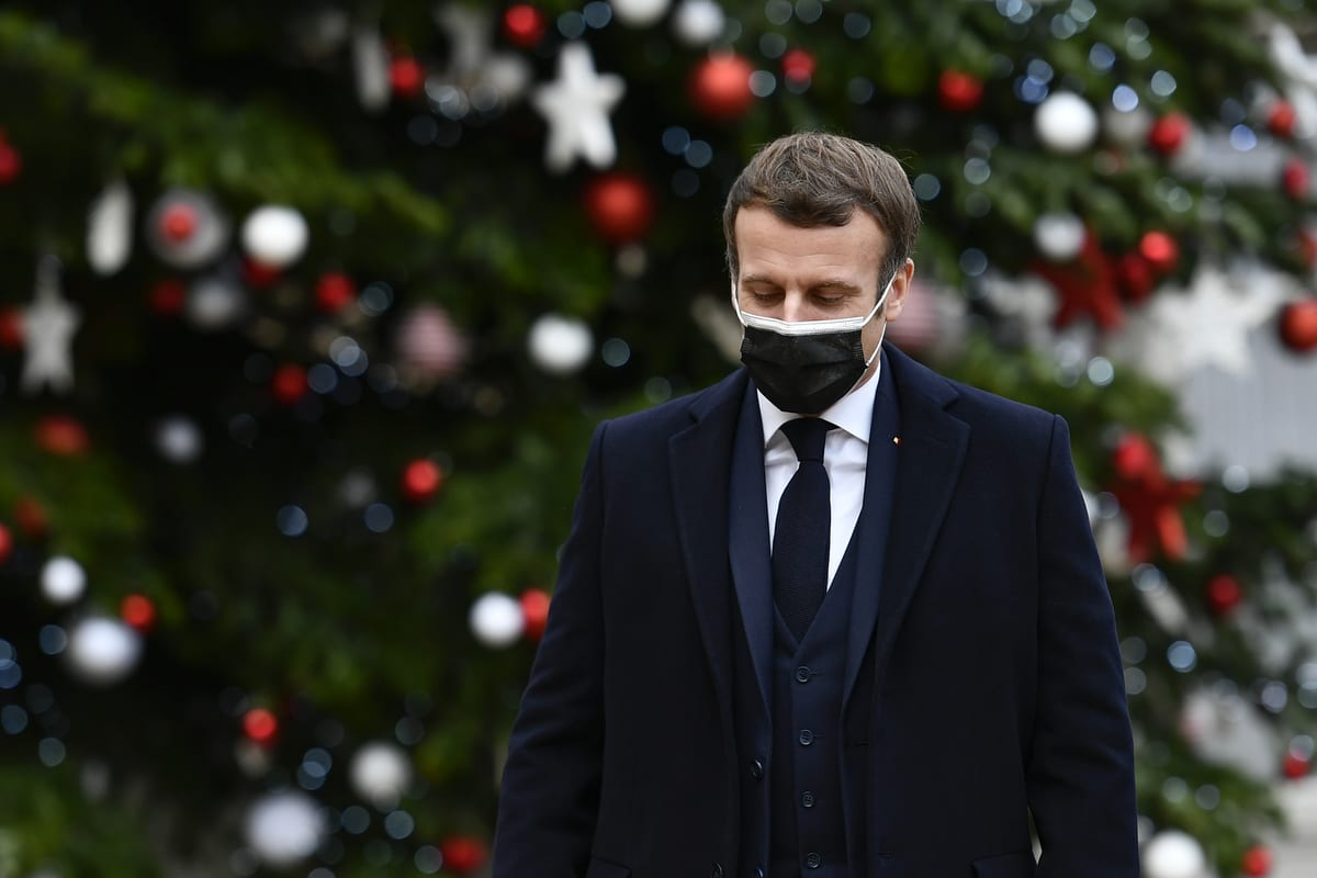 PARIS, FRANCE - DECEMBER 16: French President Emmanuel Macron welcomes Prime Minister of Portugal, Antonio Costa (not seen) at the Elysee Palace in Paris, France on December 16, 2020. ( Julien Mattia - Anadolu Agency )