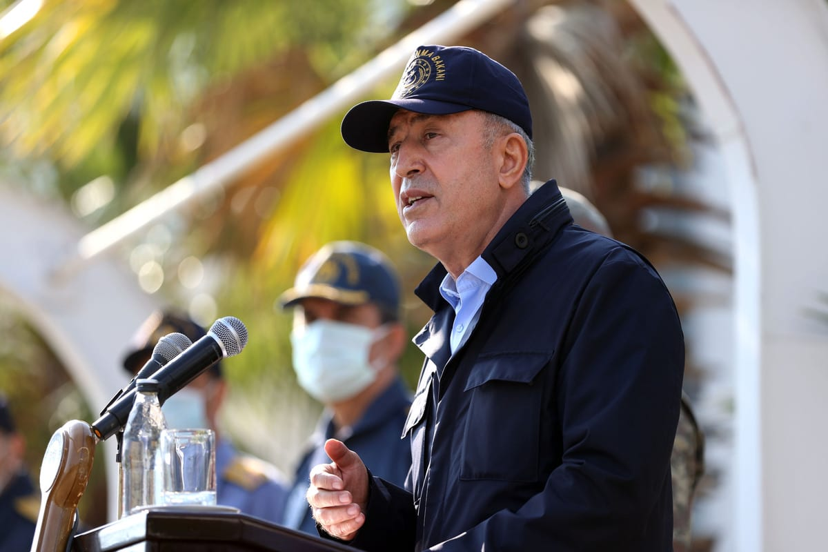 Turkish National Defence Minister Hulusi Akar speaks at Aksaz Naval Base Command after inspecting the Tiger Claw 2020 military drill on site in Mugla, Turkey on December 22, 2020 [Arif Akdoğan / Anadolu Agency]