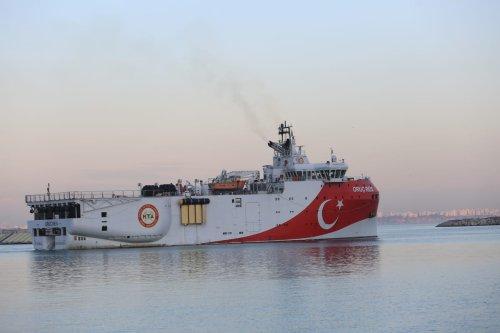Oruc Reis seismic research vessel, sets sail from Antalya to conduct seismic studies in Eastern Mediterranean, on December 23, 2020, in Antalya, Turkey [Süleyman Elçin / Anadolu Agency]