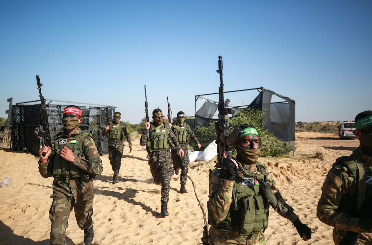"""""""Hard Corner"""" joint military drill organized by the armed wings of Palestinian groups held in Gaza Strip on 29 December 2020. [Mustafa Hassona - Anadolu Agency]"""