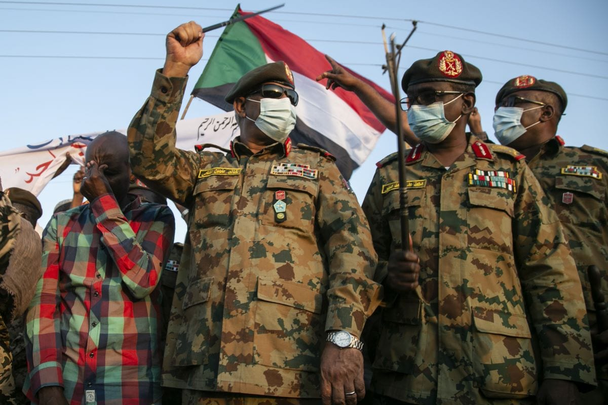 Sudanese Army's deputy chief of staff, Lieutenant General Khaled Abdin al-Shami (2nd L), is seen ahead of his speech to the press as Sudanese army has retaken control of an area in the al-Fashqa border region with Ethiopia on December 29, 2020 [Muhabiri Mahmoud Hjaj/Anadolu Agency]