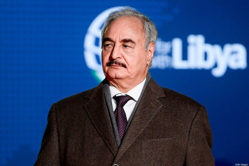 Self-proclaimed Libyan National Army (LNA) Chief of Staff, Khalifa Haftar arrives for a conference on Libya on November 12, 2018 at Villa Igiea in Palermo [FILIPPO MONTEFORTE/AFP via Getty Images]