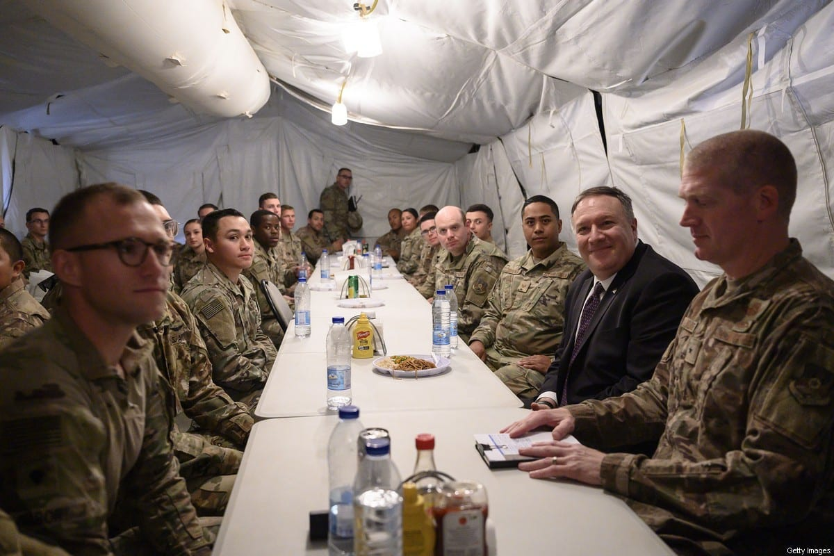 Former US Secretary of State Mike Pompeo shares lunch at the mess with members of the military as he visits the Prince Sultan air base in Al-Kharj, in central Saudi Arabia on February 20, 2020 [ANDREW CABALLERO-REYNOLDS/POOL/AFP via Getty Images]