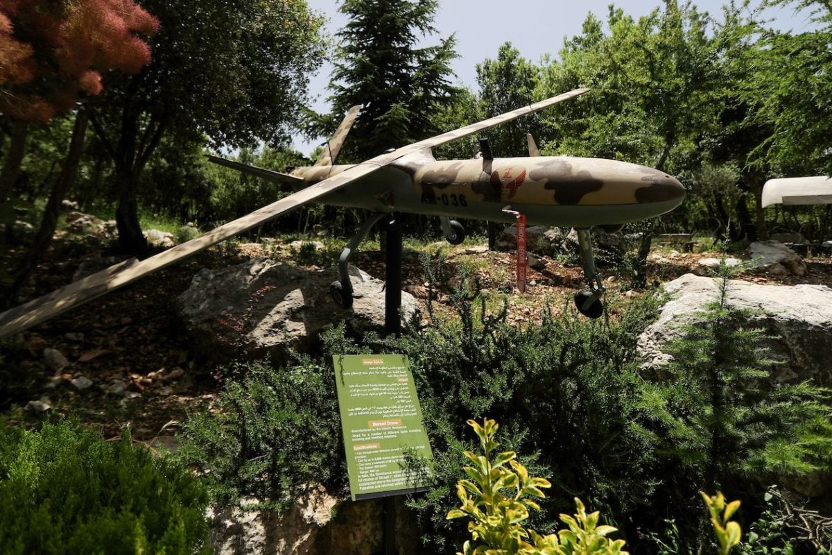 Amilitary drone at the Hezbollah memorial landmark in the hilltop bastion of Mleeta on 22 May 2020 [JOSEPH EID/AFP via Getty Images]