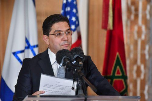 Morocco's Minister of Foreign Affairs Nasser Bourita speaks upon the arrival of the US Presidential advisor and Israeli National Security Advisor at the Royal Palace in the Moroccan capital Rabat on 22 December 2020 [FADEL SENNA/AFP via Getty Images]
