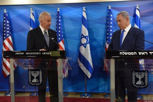 Then US Vice President Joe Biden (L) and Israeli Prime Minister Benjamin Netanyahu give joint statements to press in Jerusalem on March 9, 2016 [DEBBIE HILL/AFP via Getty Images]