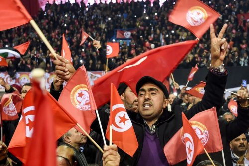 Tuinisian workers of UGTT (General Union of Tunisian Workers) attend the opening of the union's 23rd congress in the capital Tunis on January 22, 2017. / AFP / FETHI BELAID (Photo credit should read FETHI BELAID/AFP via Getty Images)