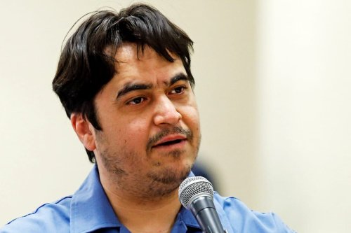 Dissident journalist Ruhollah Zam speaks during his trial at Iran's Revolutionary Court in Tehran on 2 June 2020 [ALI SHIRBAND/MIZAN NEWS/AFP/Getty Images]