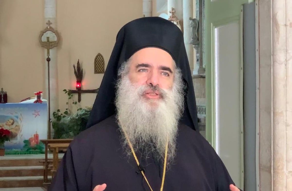 The Head of the Sebastia Diocese of the Greek Orthodox Church in Jerusalem, Archbishop Atallah Hanna, December 2020 (Photo source: MEMO)
