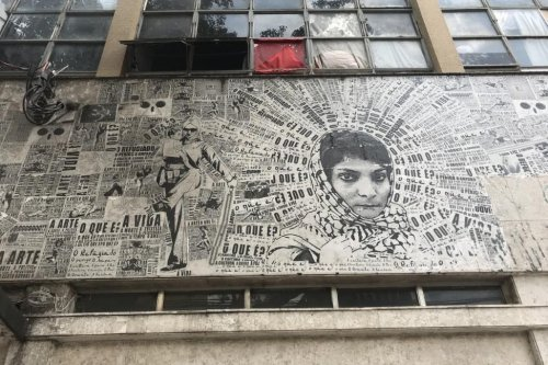 The picture of Laila Khaled on the building [Middle East Monitor]